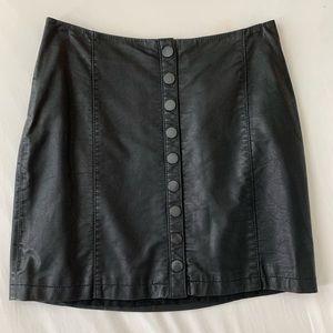 Free People Black Vegan Leather Skirt
